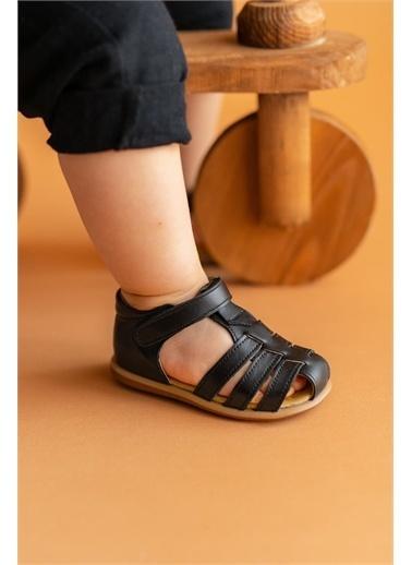 First Step Hakiki Deri Çocuk Sandalet -D-464 Siyah